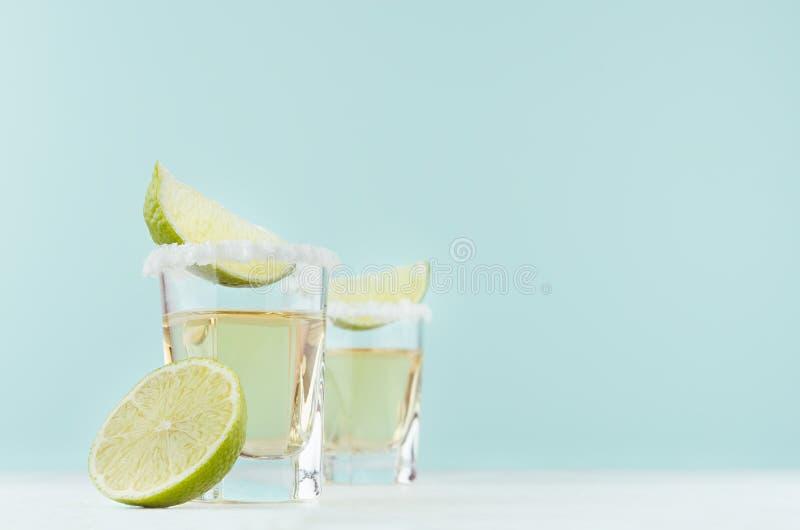 Cocktail dell'alcool - tequila con l'orlo salato, calce del pezzo in vetri sparati nell'interno blu pastello elegante moderno, sp fotografia stock