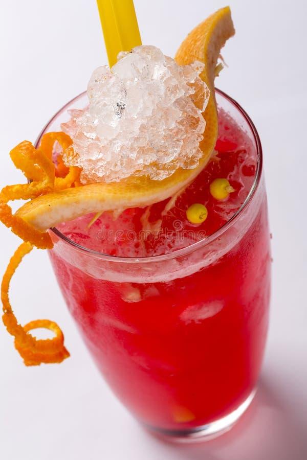 Cocktail dell'arancia sanguinella con le fette di arancia sanguinella, foc selettivo immagini stock libere da diritti