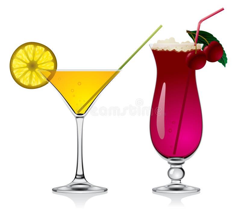 Cocktail della ciliegia e del limone illustrazione vettoriale