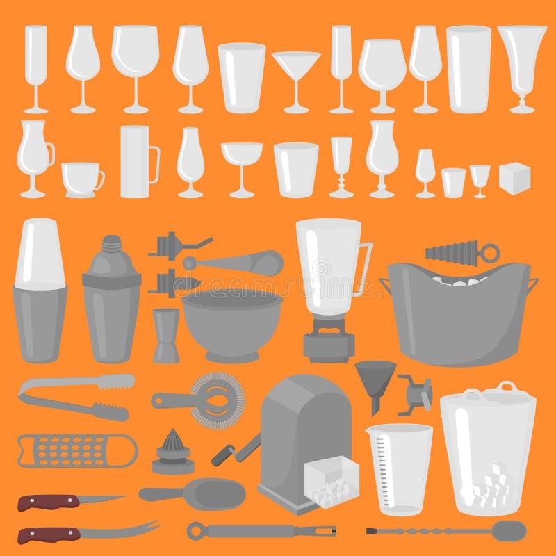 Cocktail della cristalleria di Antivari, birra e vetri di vino Barista piano Tools Attrezzatura del barista Icona isolata dello s illustrazione di stock