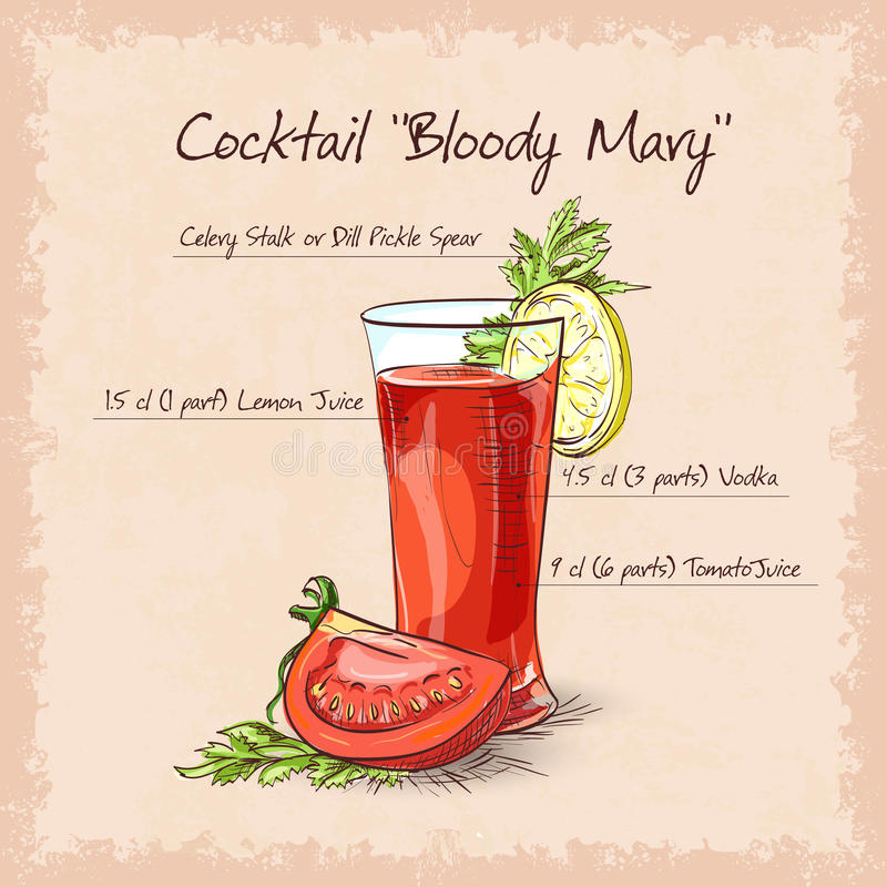 Cocktail della Mary sanguinante illustrazione di stock