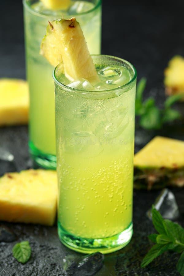 Cocktail della noce di cocco del rum di Malibu con l'ananas e la menta immagine stock libera da diritti