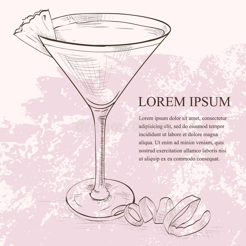 Cocktail dello scetch di Martini del francese royalty illustrazione gratis