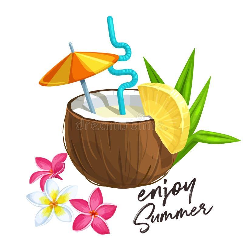 Cocktail di colada di Pina in noce di cocco illustrazione di stock