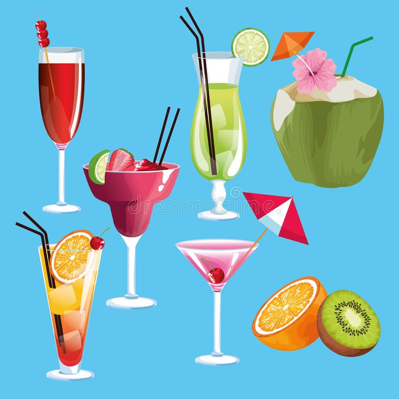 Cocktail di estate ed icone di frutti royalty illustrazione gratis