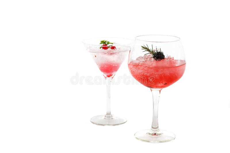 Cocktail di frutti due (mora ed uva spina) isolato immagine stock