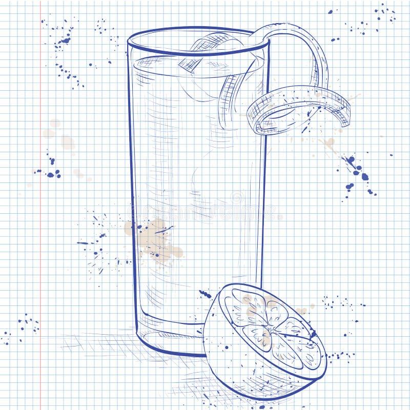 Cocktail di Gin Fizz ad una pagina del taccuino illustrazione vettoriale