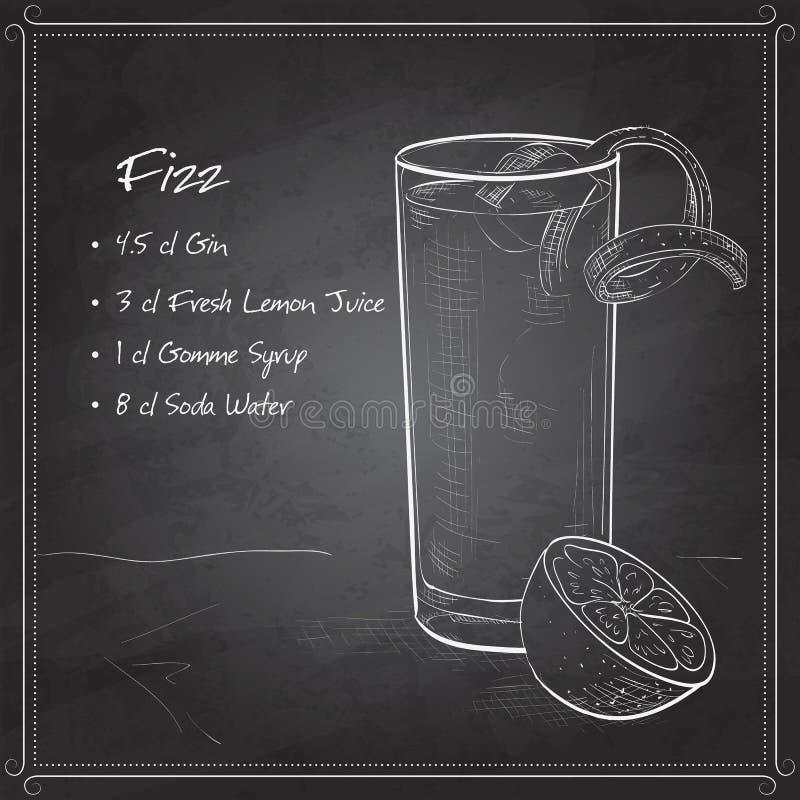 Cocktail di Gin Fizz sul bordo nero illustrazione vettoriale