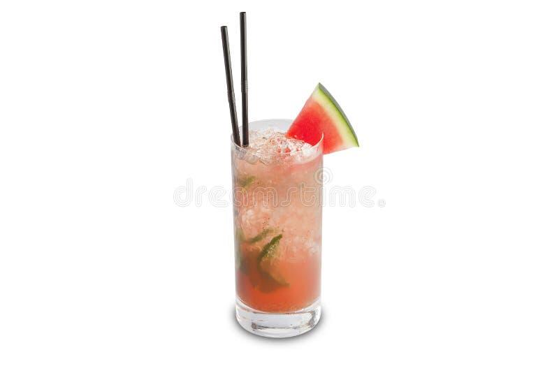Cocktail di mojito dell'anguria isolato su fondo bianco fotografia stock libera da diritti
