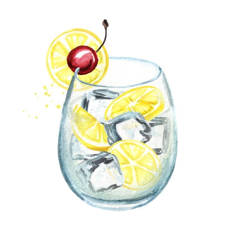 Cocktail di Tom Collins con il limone ed i cubetti di ghiaccio Illustrazione disegnata a mano dell'acquerello isolata su fondo bi illustrazione vettoriale