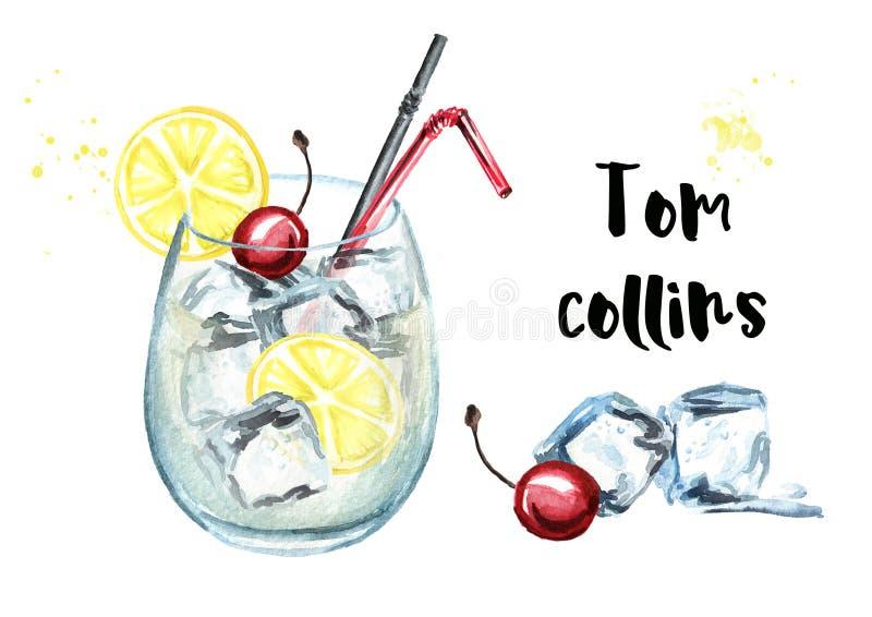 Cocktail di Tom Collins con il limone ed i cubetti di ghiaccio Illustrazione disegnata a mano dell'acquerello, isolata su fondo b illustrazione di stock
