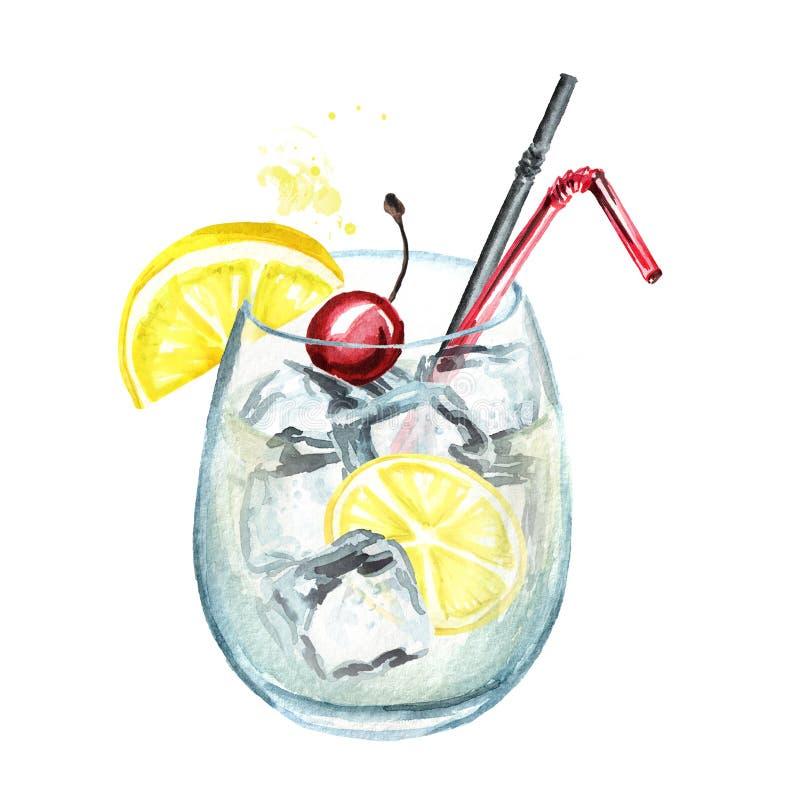 Cocktail di Tom Collins con la ciliegia, il limone ed i cubetti di ghiaccio Illustrazione disegnata a mano dell'acquerello, isola illustrazione di stock