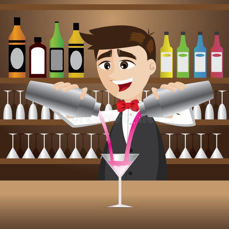 Cocktail di versamento del barista del fumetto illustrazione di stock