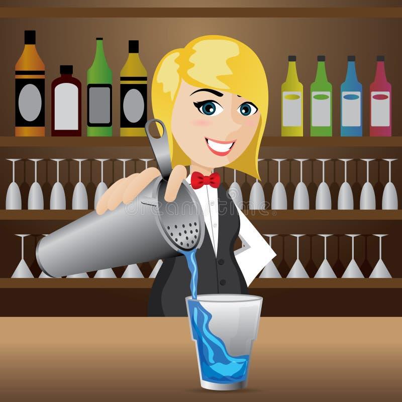 Cocktail di versamento del barista della ragazza del fumetto illustrazione vettoriale