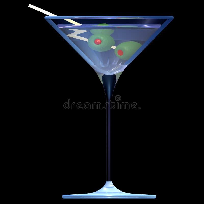 Cocktail di vetro dell'illustrazione del Martini fotografia stock