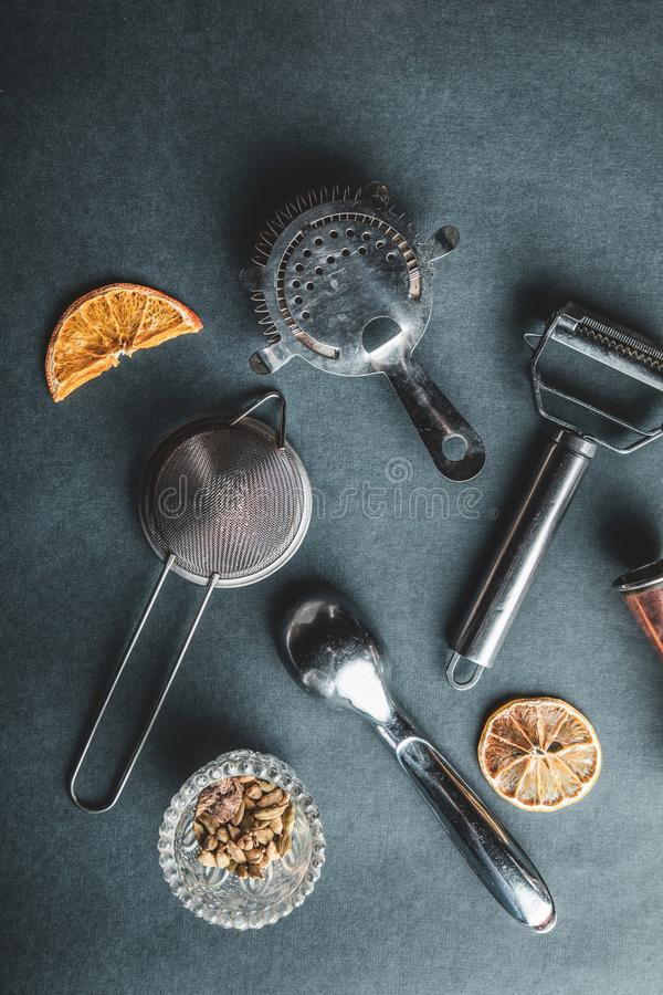 Cocktail die materiaal maken stock fotografie