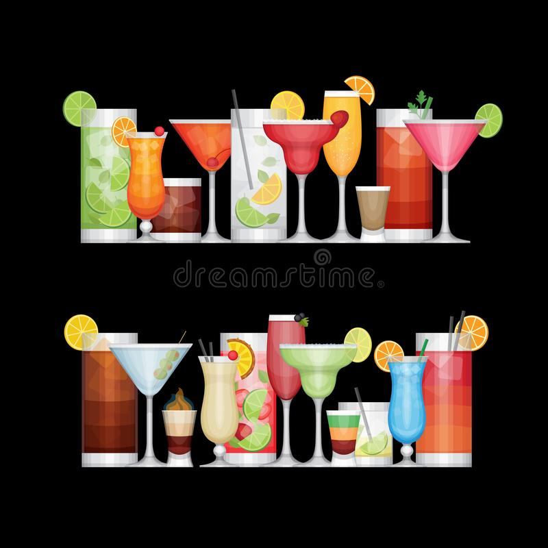 Cocktail différent d'alcool sur le fond noir boissons illustration stock