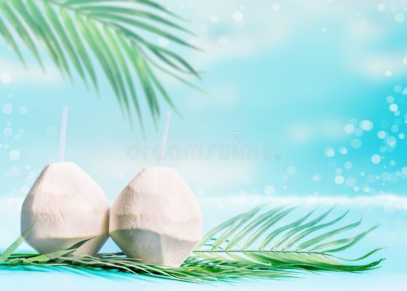 Cocktail do coco em cocos frescos em folhas de palmeira no fundo do mar Bebidas tropicais do verão fotografia de stock royalty free