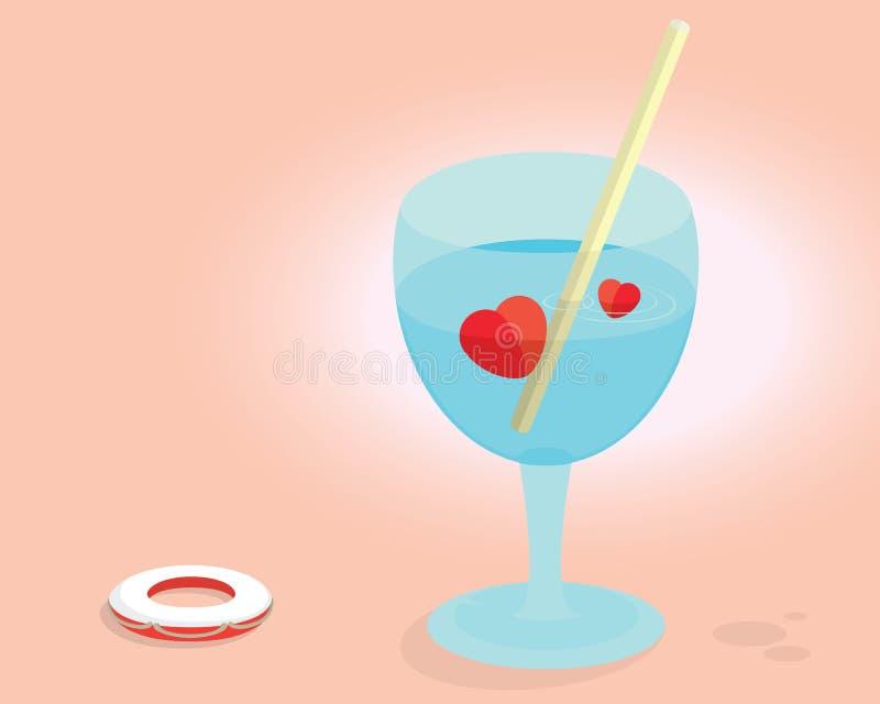 Cocktail do coração do amor ilustração do vetor