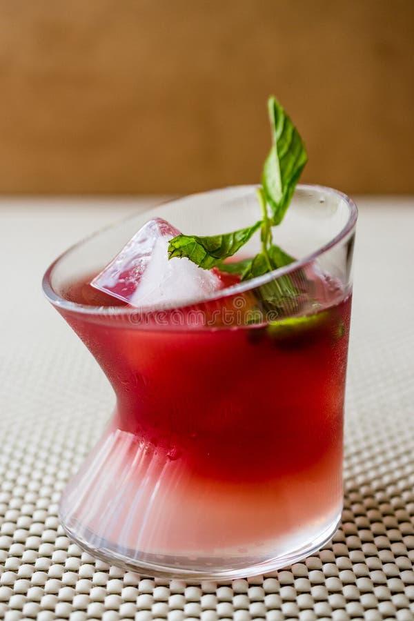 Cocktail do por do sol de Malibu com folhas de hortelã imagem de stock