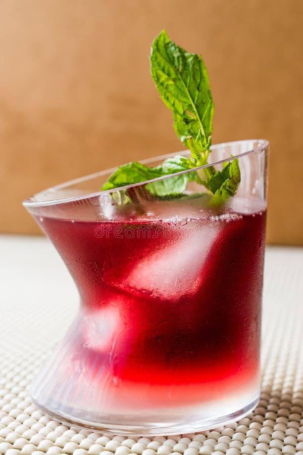 Cocktail do por do sol de Malibu com folhas de hortelã imagens de stock royalty free