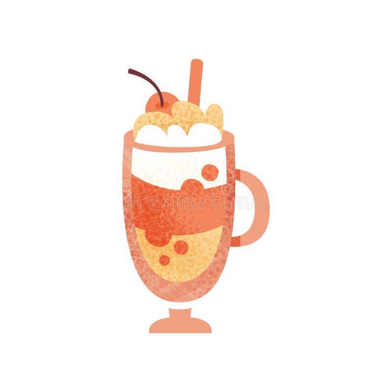 Cocktail dolce con la ciliegia crema e rossa montata sulla cima Bevanda deliziosa in tazza di vetro Icona piana di vettore con st illustrazione di stock