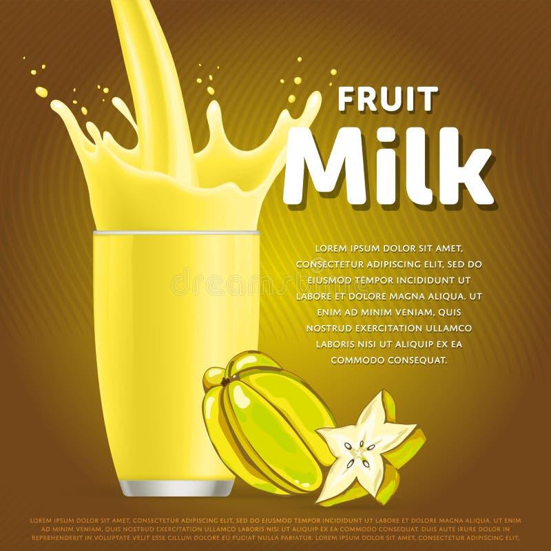 Cocktail doux de dessert de milkshake de fruit d'étoile illustration libre de droits