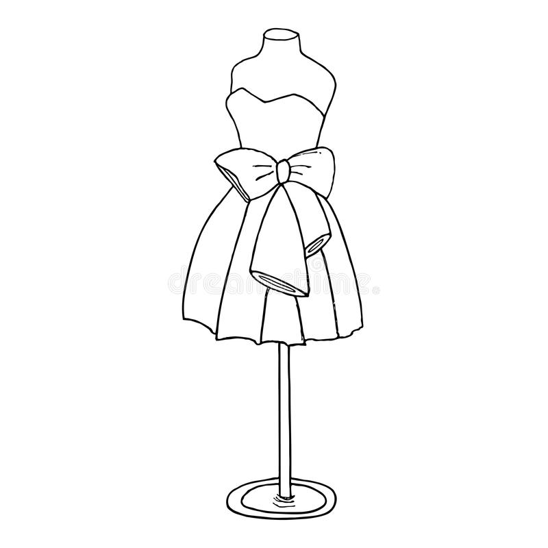 Cocktail dress with a bow. Ball gown short mannequin. Hand drawing illustration on a white background royalty free illustration