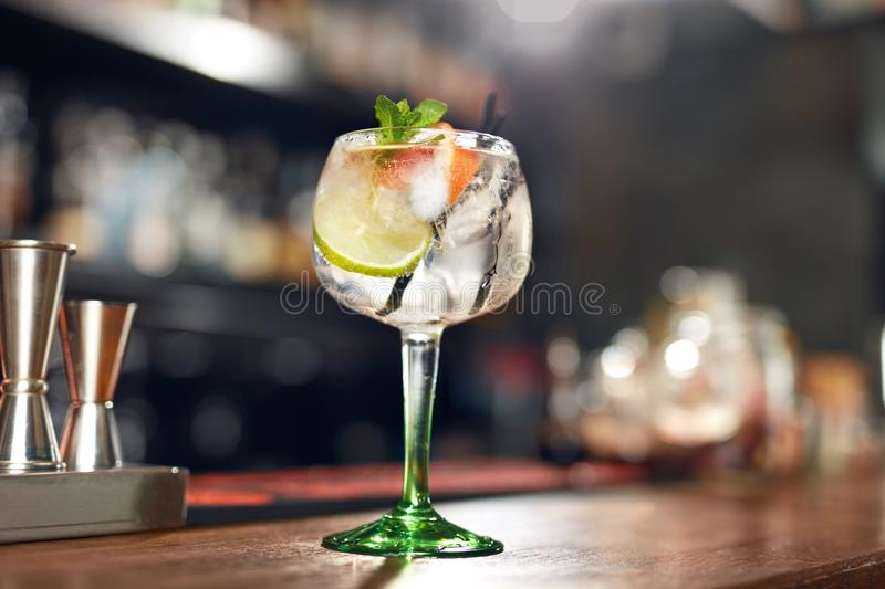 Cocktail Drink In Bar Close Up. Gin Tonic Cocktail stock photos