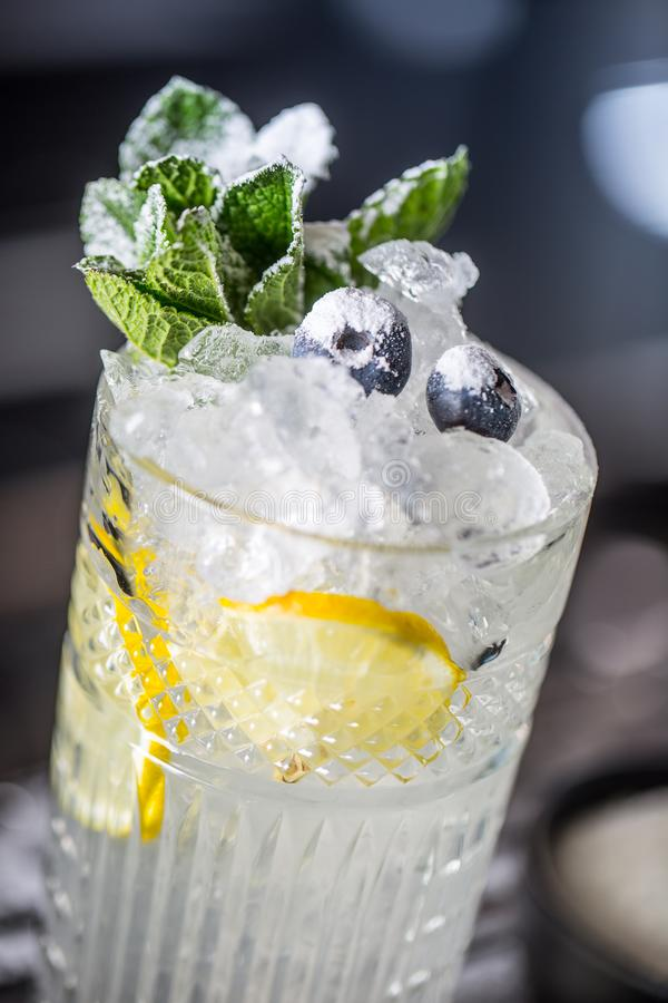Cocktail drink with blueberries and mint at barcounter in night club or restaurant stock photography