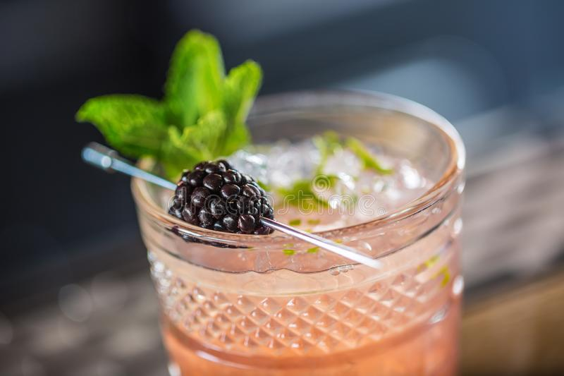Cocktail drink bramble with black berries and mint at barcounter in night club or restaurant royalty free stock photo