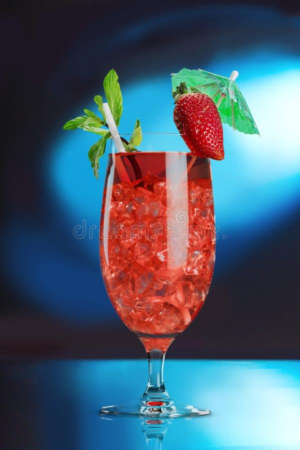 Cocktail. Drink glass alcohol ice water strawberry royalty free stock photos