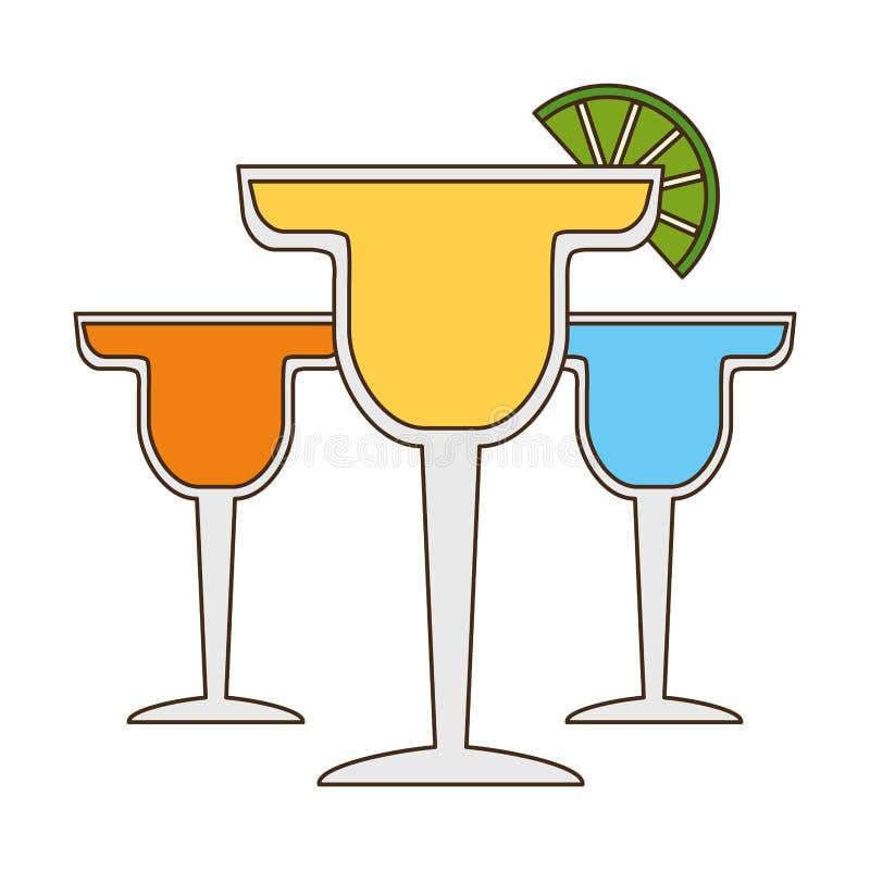 Cocktail drink liquor. Cocktails drink liquor slice lime vector illustration royalty free illustration