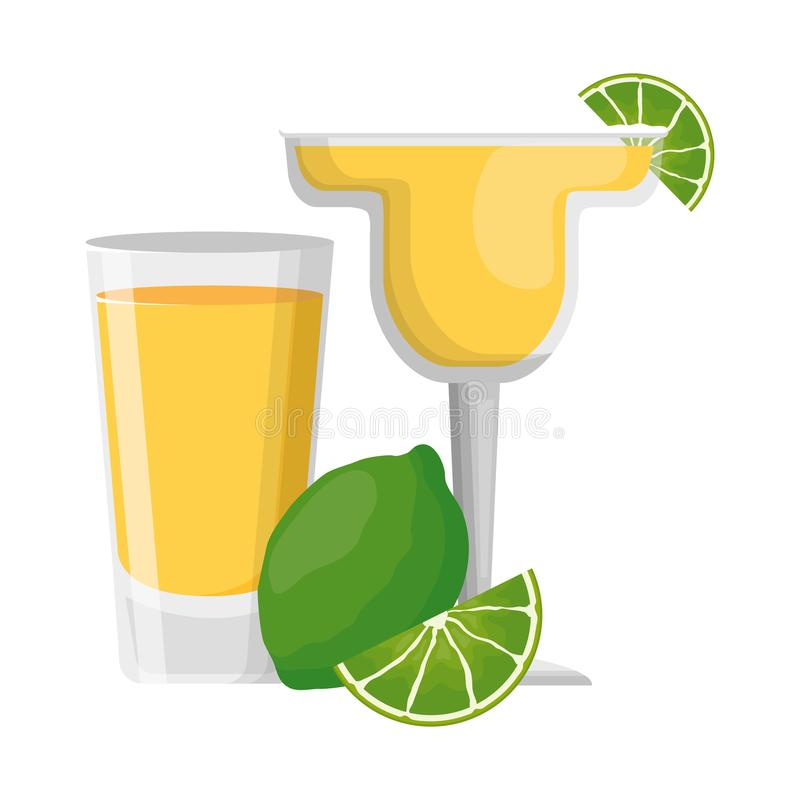 Cocktail drink liquor. With lime vector illustration vector illustration