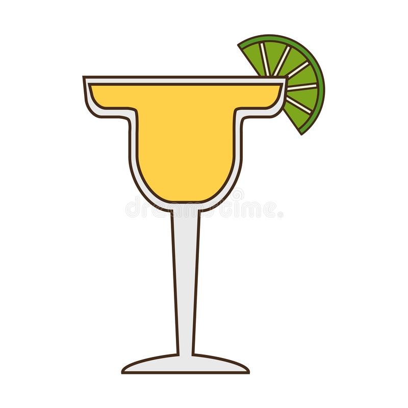 Cocktail drink liquor. With lime vector illustration stock illustration