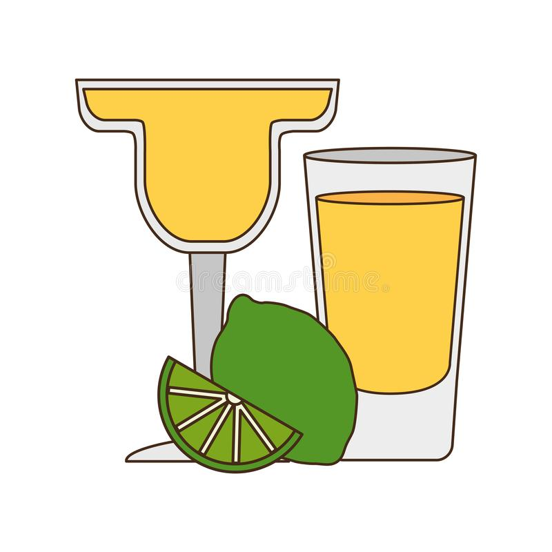 Cocktail drink liquor. With lime vector illustration royalty free illustration