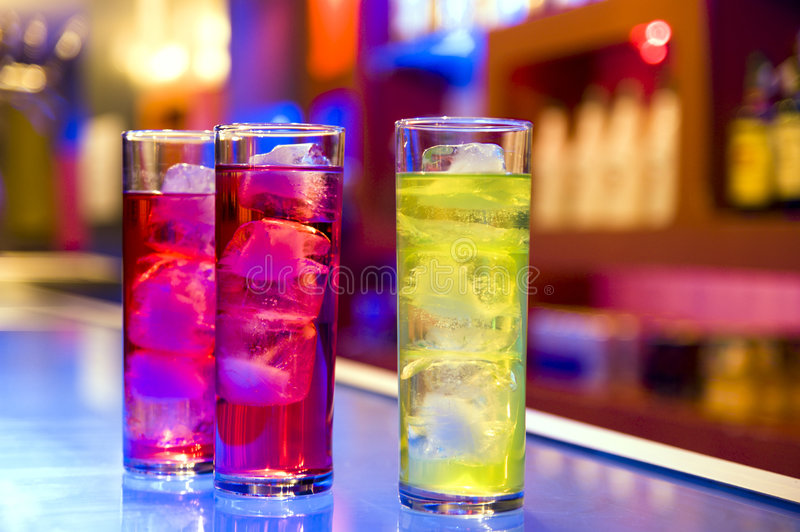 Cocktail Drinks On A Bar Royalty Free Stock Photo