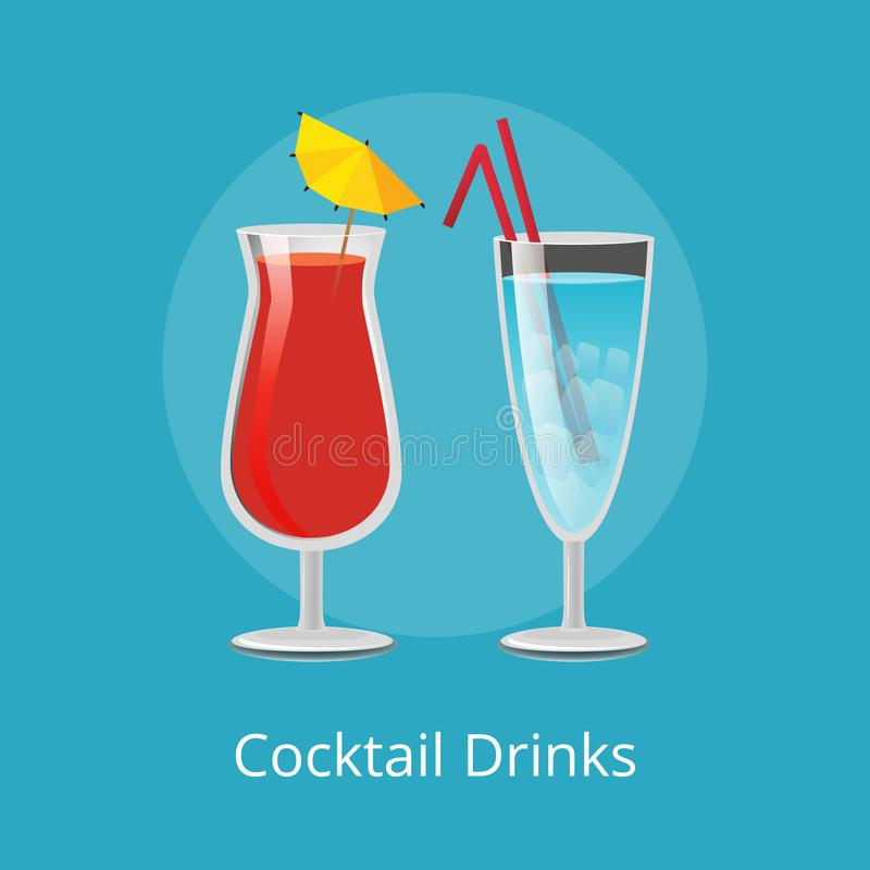 Cocktail Drinks Blue Lagoon and Vodka Juice Straw. Cocktail drinks Blue Lagoon and vodka with juice refreshing cocktails with two straws, popular summer vector illustration