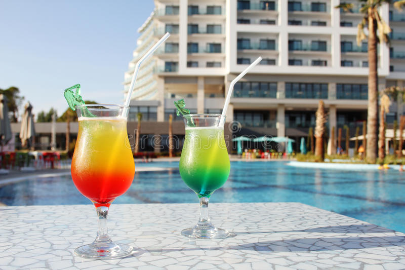 Cocktail Drinks Poolside royalty free stock image