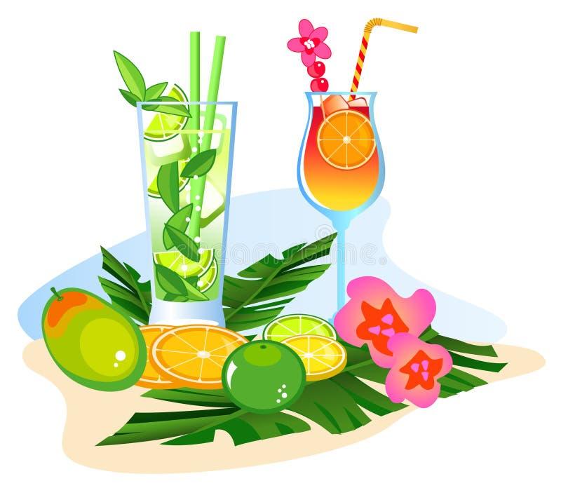 Cocktail e frutas ilustração do vetor