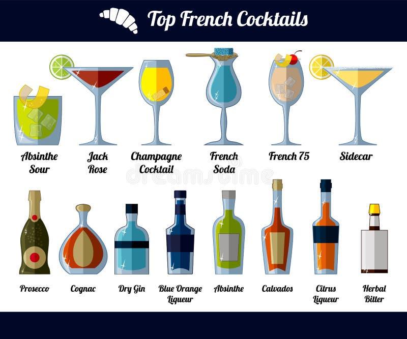 Cocktail e ingredientes franceses Objetos isolados no fundo branco ilustração do vetor