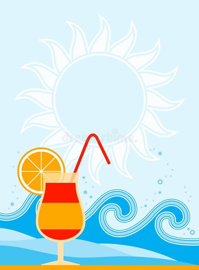 Cocktail e ondas do verão ilustração do vetor