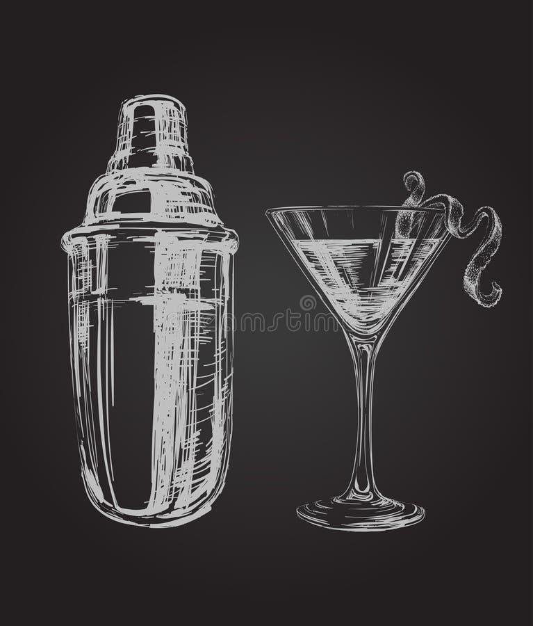 Cocktail e Shaker Hand Drawn Illustration cosmopolitas do esboço ilustração royalty free