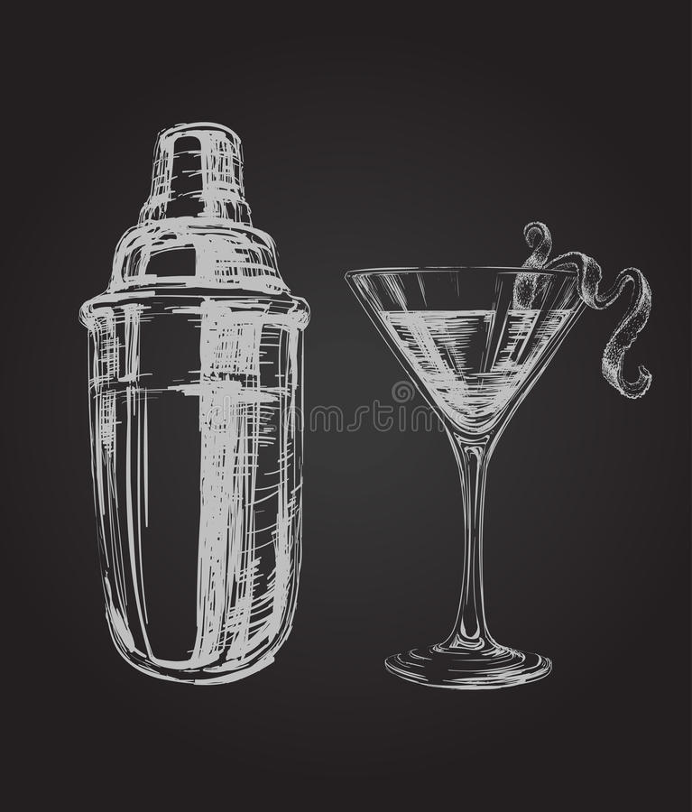 Cocktail e Shaker Hand Drawn Illustration cosmopoliti di schizzo royalty illustrazione gratis