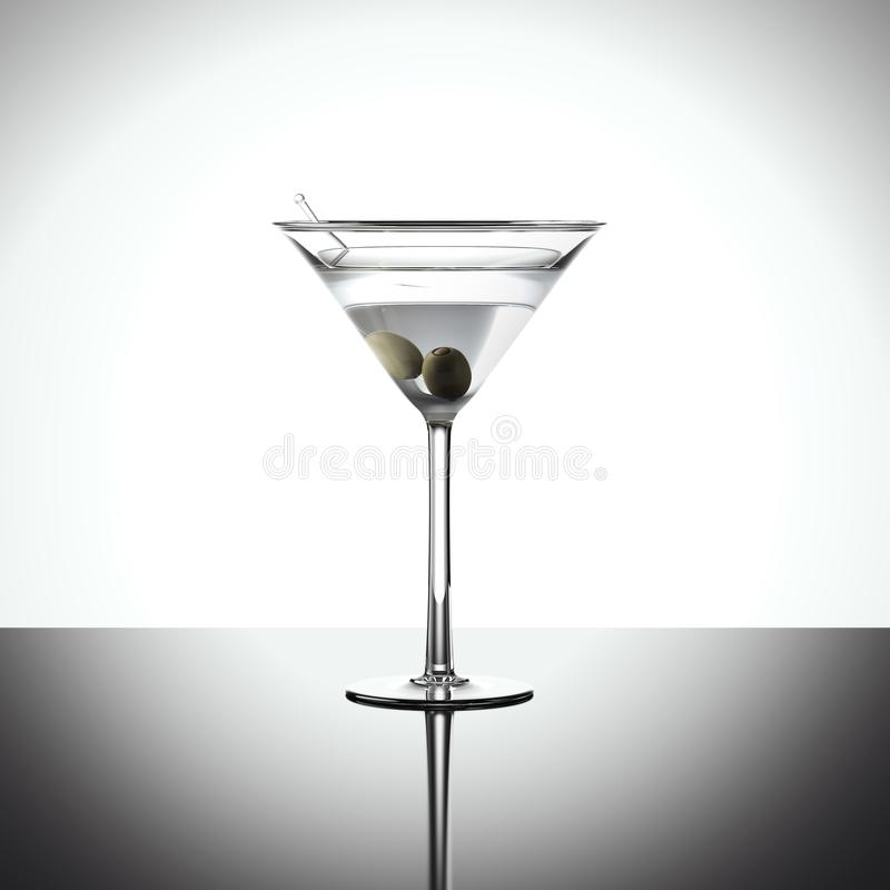 Cocktail en verre de margarita rendu 3d illustration stock