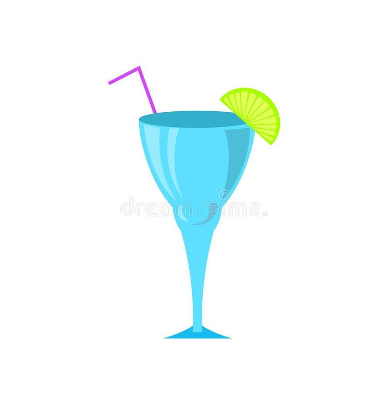 Cocktail en verre servi avec la chaux et la paille coupées illustration libre de droits