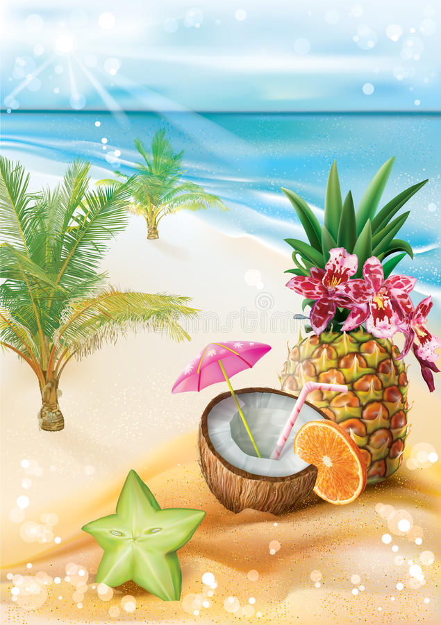 Cocktail esotico su una spiaggia tropicale di estate royalty illustrazione gratis