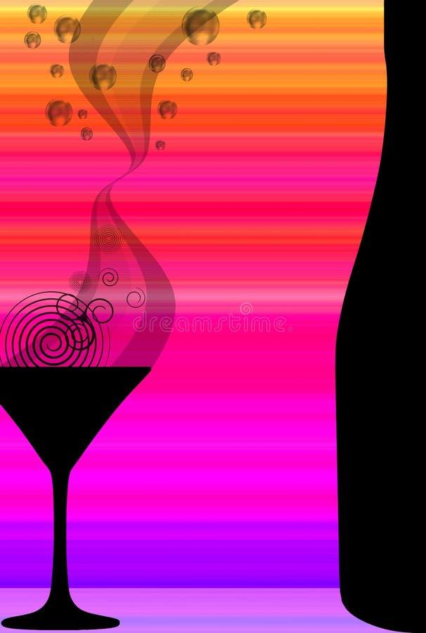 Cocktail et bouteille illustration de vecteur