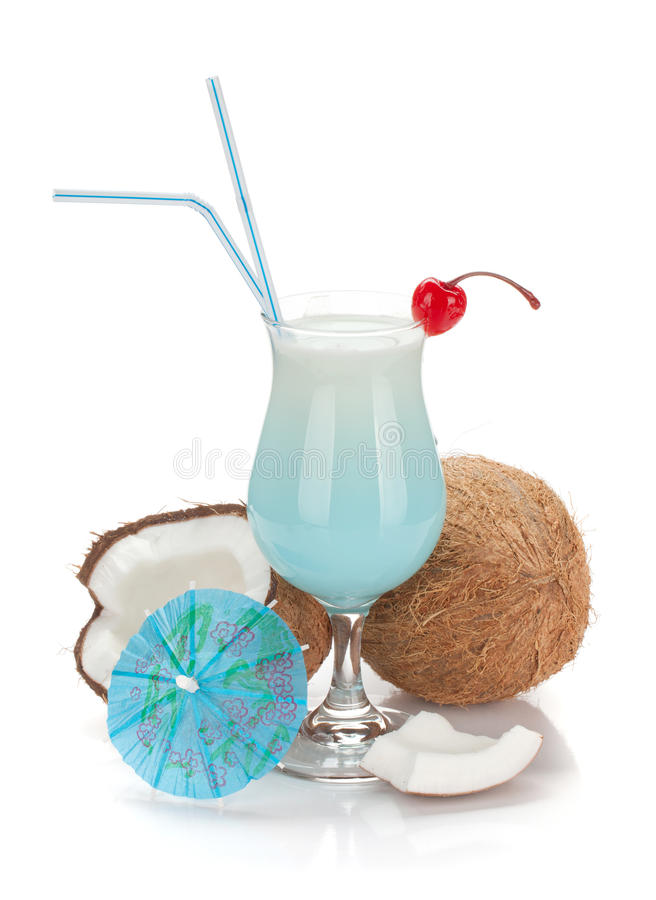 Cocktail et noix de coco bleus d'Hawaï photo stock