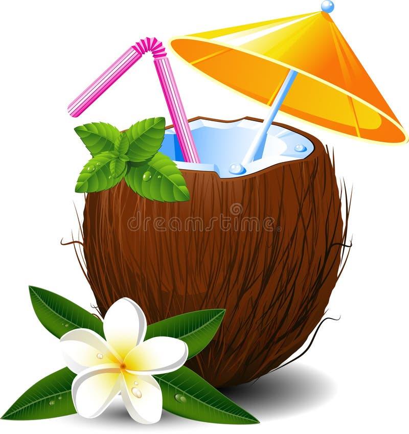 Cocktail exótico do coco ilustração do vetor